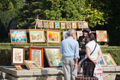 Artist selling their work stock image
