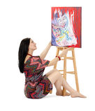 Artist showing abstract painting Metamorphosis Stock Images