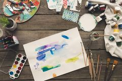artist sketches drawn with watercolor paints stock photography