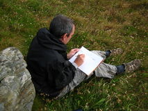 Artist sketching Stock Photography