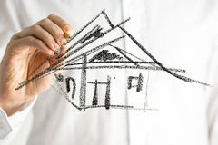 Artist sketching building Stock Images