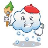 Artist snow cloud character cartoon Stock Image