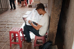 Artist in St. Paul's Church at Malacca Stock Photography