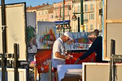 Artist in St. Tropez Royalty Free Stock Photos