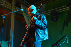 Artist on stage with chapman stick Stock Photo