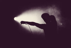 Artist in stage lights holding a microphone Royalty Free Stock Photography