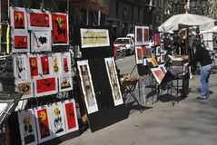 Artist stall on Las Ramblas. Barcelona. Spain Royalty Free Stock Images
