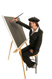 Artist starting with a blank canvas. On an easel as she prepares to create royalty free stock images