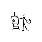 Artist stick figure. Artist man stick figure vector Stock Photos