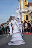 Artist on stilts, street theater Royalty Free Stock Photo