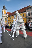 Artist on stilts, street theater Royalty Free Stock Photo