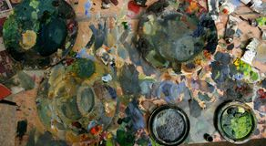 Artist studio painted dirty table Stock Photography