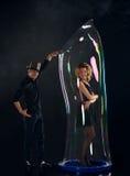 Artist team make amusement soap bubble Royalty Free Stock Photography