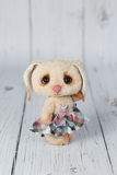 Artist teddy bunny in dress one of kind Royalty Free Stock Photos