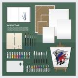 Artist Tool. Vector Illustration Paintbrush & Colors for Artist Stock Photo