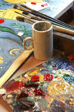 Artist tools. Painter tools in artist studio Royalty Free Stock Photography