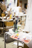 Artist Tools. In a jar of glass in a studio Stock Image