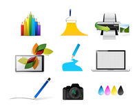 artist tools concept icon set illustration Stock Images