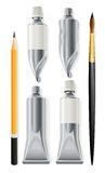 Artist tools pencil brush and tubes with paint royalty free stock images