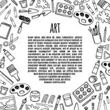 Artist tools sketch hand drawn frame vector. Stock Images
