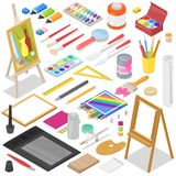 Artist tools vector watercolor with paintbrushes palette and color paints on canvas for artwork in art studio. Artist tools vector watercolor with paintbrushes royalty free illustration