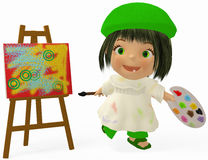 Artist toon. 3D render of a cartoon girl who is  painting on canvas Royalty Free Stock Photography