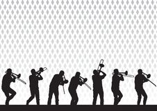 Artist with a trombone. Drawing artist with a trombone on stage during a performance royalty free illustration