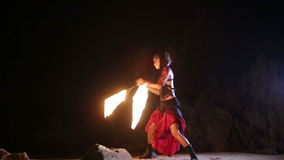 Artist turns the fiery fire-snakes fire performance Royalty Free Stock Photography