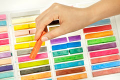 Artist using chalk pastels Stock Photography