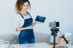 Artist video blog creative lady application tablet stock photos