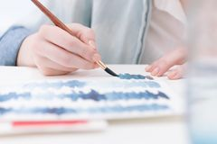 Artist with watercolors Stock Image