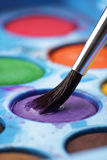 Artist watercolour palette with brush Royalty Free Stock Images