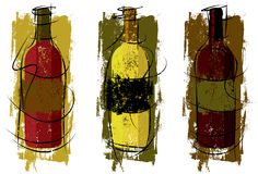 Artist Wine Bottles. Three textured wine bottles in different colors stock illustration