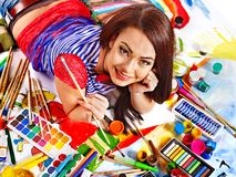 Artist woman with paint palette. Royalty Free Stock Photo
