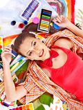 Artist woman with paint palette. Stock Image