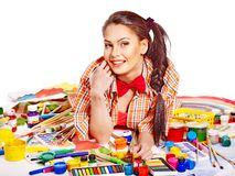 Artist woman with paint palette. royalty free stock photos