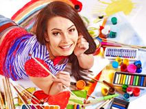 Artist woman with paint palette. stock photography