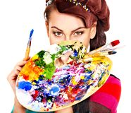 Artist woman with paint palette. Royalty Free Stock Images