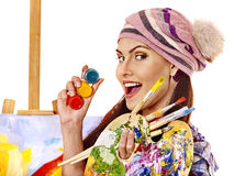 Artist woman with paint palette Stock Images