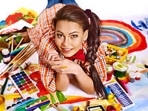 Artist woman with paint palette. Stock Images