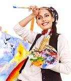 Female artist at work. Royalty Free Stock Image