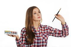 Artist woman at work. Isolated. Stock Photos