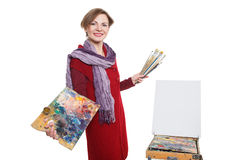 Artist woman at work. Isolated Royalty Free Stock Photography