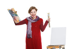 Artist woman at work. Isolated Stock Image
