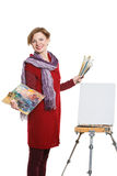 Artist woman at work. Isolated Stock Photo