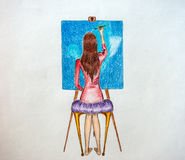 Artist women painter Royalty Free Stock Images