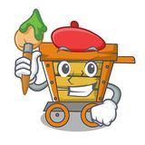 Artist wooden trolley character cartoon. Vector illustration royalty free illustration
