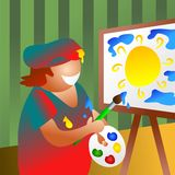 Artist at work. Painting Royalty Free Stock Image