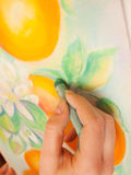 Artist at work with pastel painting. Closeup Stock Image