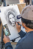 Artist at work, Santa Monica Pier Stock Image